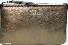 TULA (Makers of Radley) Women's Gold Leather Cosmetics Coin Purse Top Zip FreePP