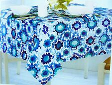 """Assorted Sizes """"Selena Medallion"""" Blue & White Fabric Tablecloth FREE SHIPPING"""