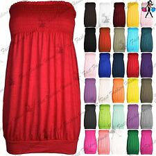 Womens Band Sheering Top Ladies Casual Plain Baggy Jersey Vest Boobtube Bandeau