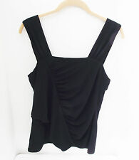 CAROLE LITTLE CASUAL SOLID BLACK POLYESTER SPANDEX SLEEVELESS TANK TOP L NEW