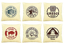 Vietsbay Country Stamps  Printed  Decorative Pillows Cover Cushion Case VPLC