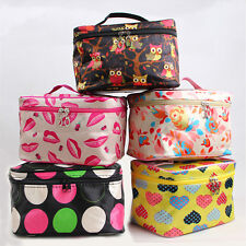 Pattern Make up Bag Cosmetic Case Travel Toiletry Wash Bag Purse OWL Flowers