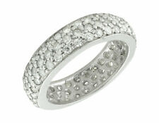 Unisex 10K White Gold Paved Iced Out Real Diamond Eternity Wedding Band 3.72ct