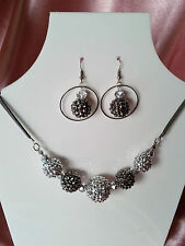 Diamond Inspired Basketball Wives Necklace & Earrings Silver Blue Disco Balls