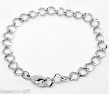 Gift Wholesale Silver Tone Lobster Clasp Link Chain Bracelets 20cm