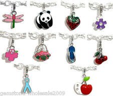 Wholesale Lots Mixed Clip On Enamel Charms Fit Link Chain Bracelet