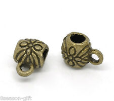 Gift Wholesale Bronze Tone Flower Pattern Bail Beads 9x6mm