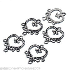 Wholesale Mixed Lots Silver Tone Heart Connectors 19x21mm Findings