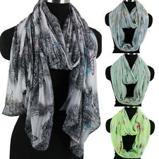 Fashion Women's Butterfly Porcelain Floral Print Striped Long/Infinity Scarf New