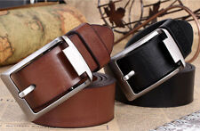 Fashion Mens Black/Brown Casual Pin Buckle Belt Faux Leather Belts Waistband EW