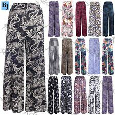 Womens Floral Print Trouser Ladies Wide Leg Flared Parallel Pant Palazzo Legging