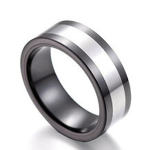 Two Tones Polished Tungsten Carbide Ring with Black Ceramic Men's Wedding Band
