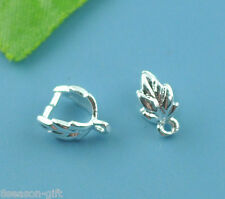 Gift Wholesale Silver Plated Leaf Pinch Bail Findings 9x7mm