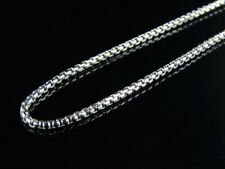 Men's 10K White Gold Genuine 1.5 MM Puffed Rolo Chain Necklace 24-34 Inches