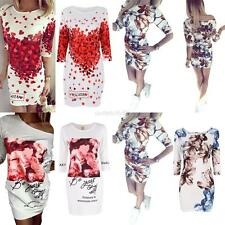 Summer Womens Casual Floral Cocktail Party Long Sleeve Bodycon Mini Dress S-XL