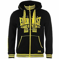 Everlast Flurorescent Full Zip Hoody Mens Black Jumper Sweatshirt Sweater