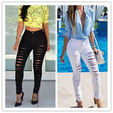 Womens Girls Ripped Skinny Denim Jeans Cut High Waisted Jegging Trousers Pants