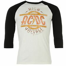 Official ACDC High Voltage T-Shirt Mens White/Black Tee Shirt Top