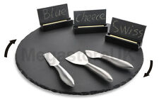 Slate Lazy Susan 35cm Rotating Table Platter Cheese Board FREE Accessories Gift