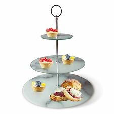 3 Layer Marble Looking Cake Stand Food/Cheese/Tea Presentation Plate Handle Gift
