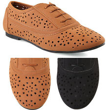 MOGAN SHOES Lace Up Perforated Soft Oxford FLATS Rounded Toe Faux Suede Loafers