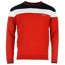 Donnay Panel Knit Jumper Mens Red/Navy Pullover Sweater