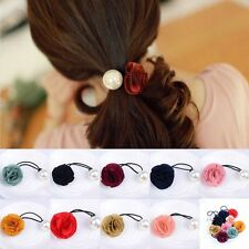 Women Satin Ribbon Rose Flower Pearls Elastic Ponytail Holder Hair Tie Band Rope
