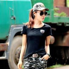 Women Military Camouflage Crew Neck T-Shirt Summer Short Sleeve Outdoor Tee Tops