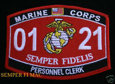 MOS 0121 US MARINES PERSONNEL CLERK PATCH MARINES POST OFFICE MAILMAN USMC WOW