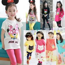 Mickey Minnie Cat Kids Girl Cotton Clothes T-shirt Tops+Pants Outfit Set 2-7 T