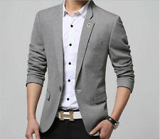 New Fashion Mens Gray Casual Slim fit One Button Suit Blazer Coat Jackets