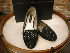 Steve Madden Karry Black Suede Perforated Jeweled Loafer NEW