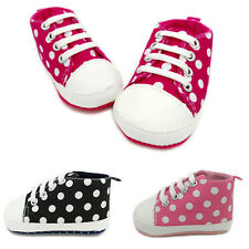 Cute Baby Infant Polka Dots Shoe Soft Crib Shoes Prewalker Lace Up Walking Shoe