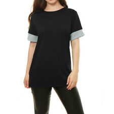 Women Short Sleeves Contrast Color Detail Tunic Tee