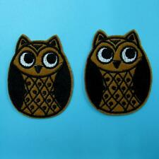 2 Owl Bird Night Animal Iron on Sew Patch Applique Badge Embroidered Cute Baby