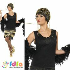 20s FRINGED GATSBY CHARLSTON FLAPPER UK 8-18 - womens ladies fancy dress costume