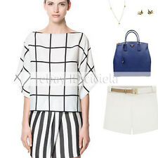 Europe Women's Lady Short Sleeve Black&White Grid Chiffon T-shirt Top Blouse New