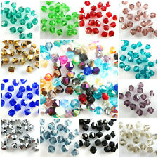 Wholesale New 100Pcs Faceted Glass Crystal Bead Spacer Bicone Findings 4mm