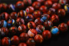 50pcs Charms Round Glass Gold Stardust Millefiori Beads Spacer Findings 8/10mm