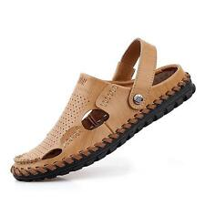 Men's Closed Toe Leather Sandals Casual Sandal Summer Slipper sneaker shoes NEW