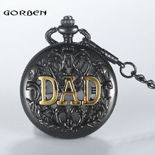 Father Gift Vintage Antique Retro Pocket Watch Quartz Pendant Necklace Chain Dad