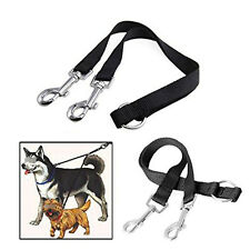 Nylon Double Lead Coupler Twin Dog Two Pet Dog Walking Duplex Leash Splitter EF