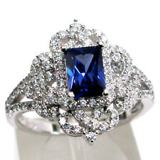 CLASSY 1 CT TANZANITE EMERALD CUT 925 STERLING SILVER RING SIZE 5-10