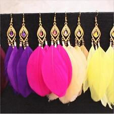 Fashion Boho Bohemia Colourful Feather Long Gold Eardrop Dangle Lady Earrings J