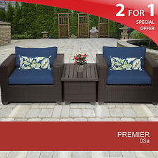 Premier 3 Piece Outdoor Wicker Patio Furniture Set 03a 2 for 1