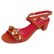 LADIES WOMENS CORAL LOW HEEL BEADED ANKLE STRAP SANDALS PARTY SHOES SIZE UK 3-8