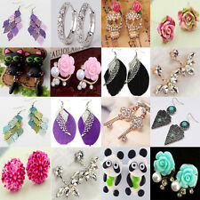1pair NEW Fashion Women Lady Girls Crystal Rhinestone Flower Ear Stud Earrings