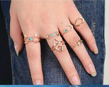 6Pcs/set Fashion Bohemian Gypsy Gold/Silver Plated Natural Turquoise Alloy Rings