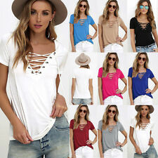 Fashion Women's Loose Pullover T Shirt Short Sleeve Cotton Tops Shirt Blouse a
