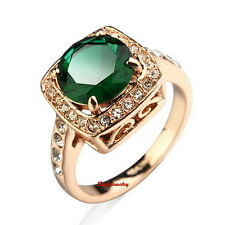 18k Rose Gold Plated Emerald Green Square Ring Made With Swarovski Crystal R11